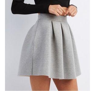 Gray Pleated Scuba Skater Skirt
